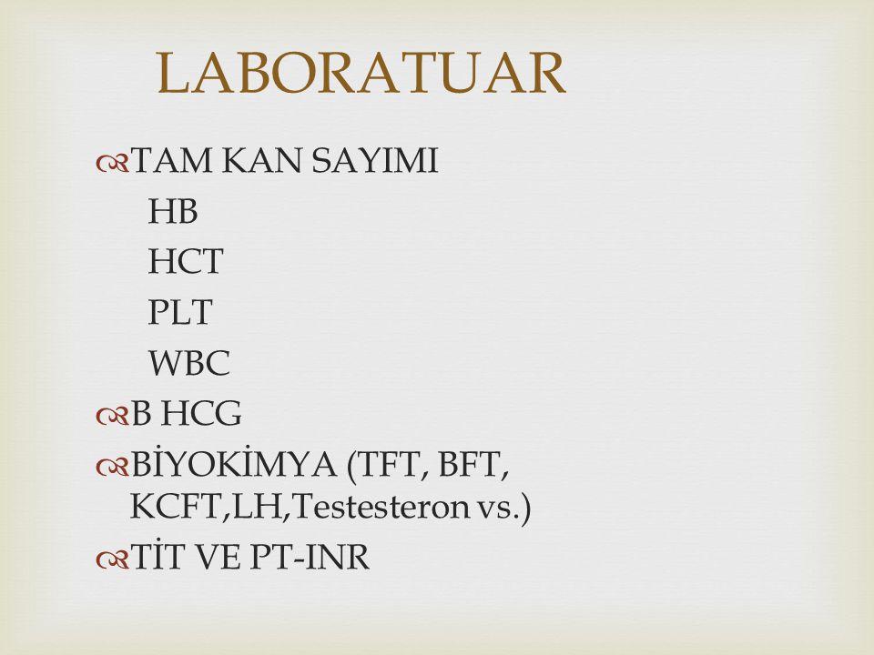LABORATUAR TAM KAN SAYIMI HB HCT PLT WBC B HCG