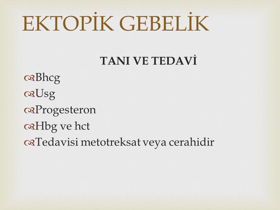 EKTOPİK GEBELİK TANI VE TEDAVİ Bhcg Usg Progesteron Hbg ve hct