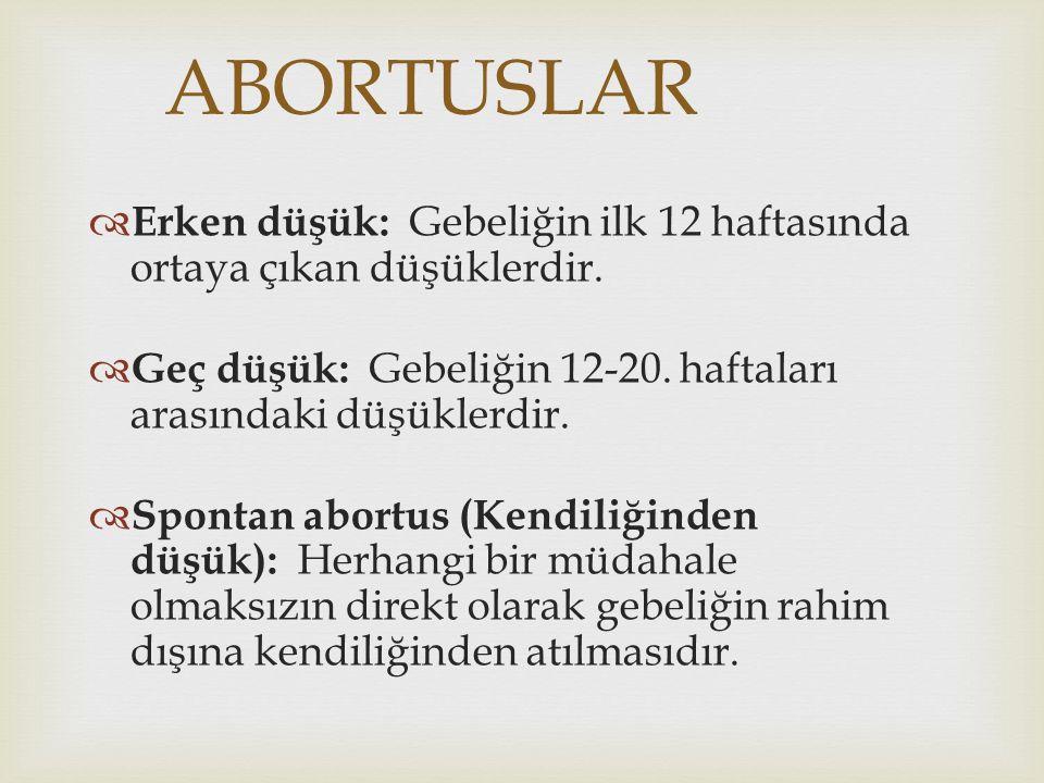 ABORTUSLAR Erken düşük: Gebeliğin ilk 12 haftasında ortaya çıkan düşüklerdir. Geç düşük: Gebeliğin 12-20. haftaları arasındaki düşüklerdir.