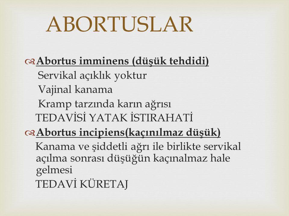 ABORTUSLAR Abortus imminens (düşük tehdidi) Servikal açıklık yoktur