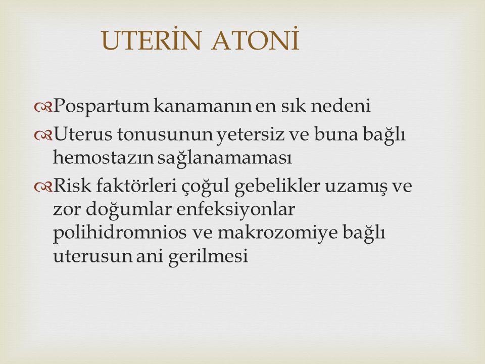 UTERİN ATONİ Pospartum kanamanın en sık nedeni