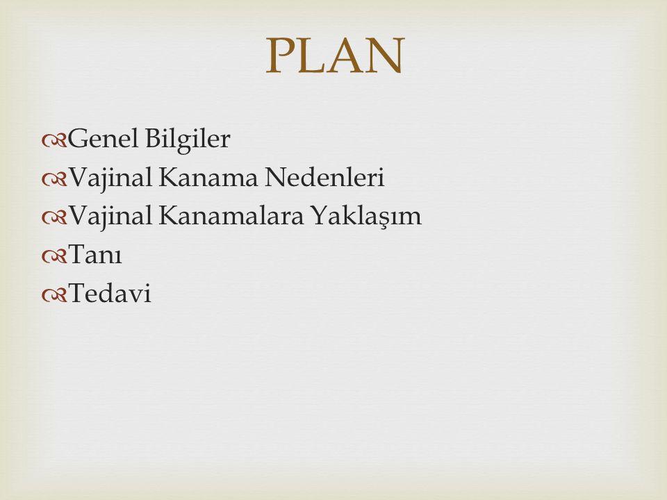 PLAN Genel Bilgiler Vajinal Kanama Nedenleri