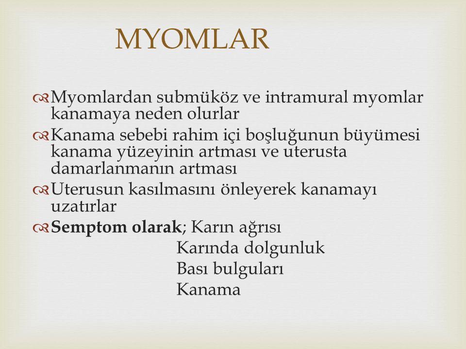 MYOMLAR Myomlardan submüköz ve intramural myomlar kanamaya neden olurlar.