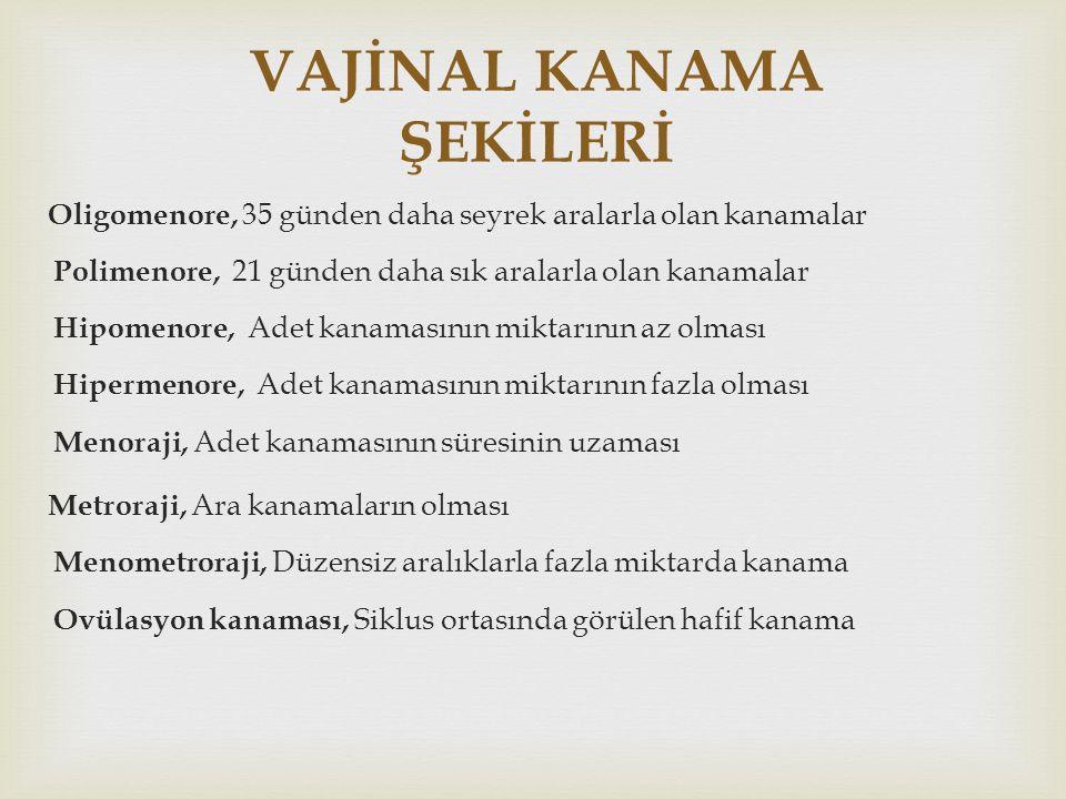 VAJİNAL KANAMA ŞEKİLERİ