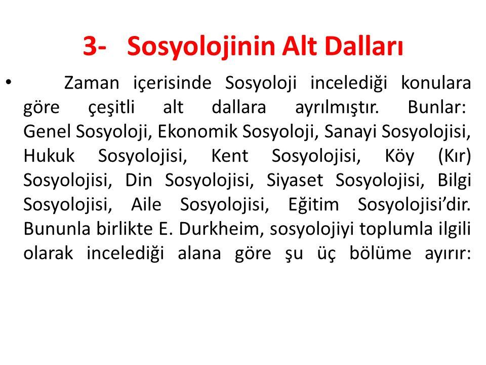 3- Sosyolojinin Alt Dalları