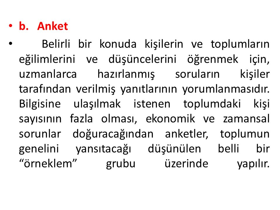 b. Anket