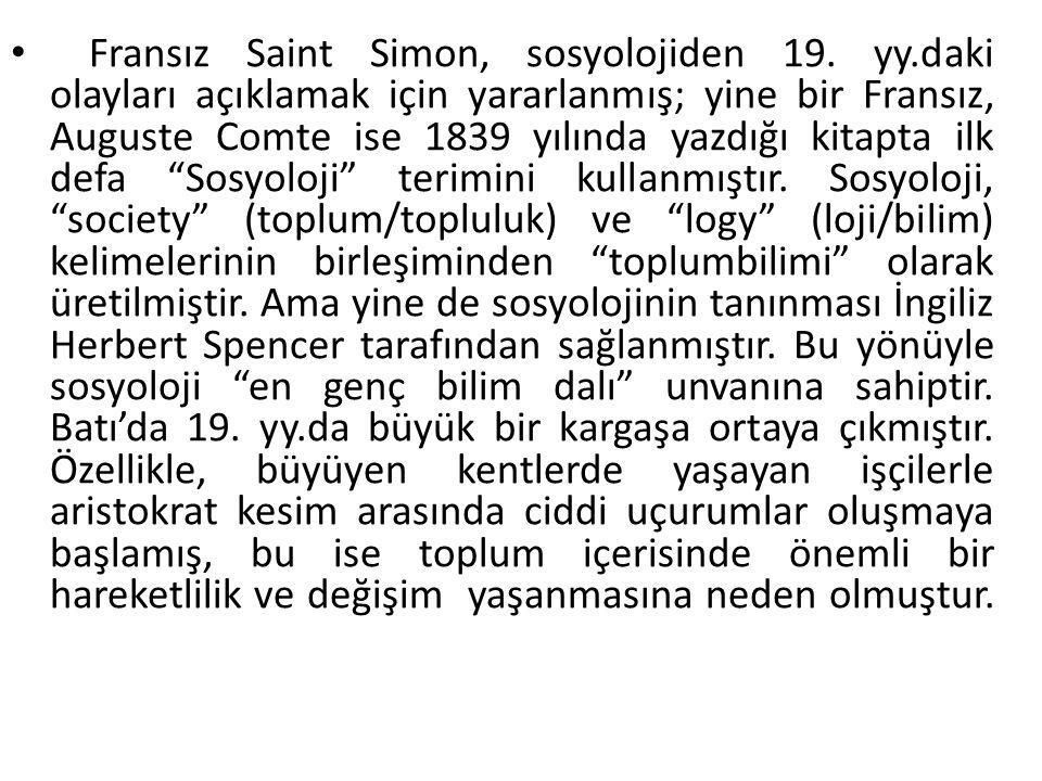 Fransız Saint Simon, sosyolojiden 19. yy
