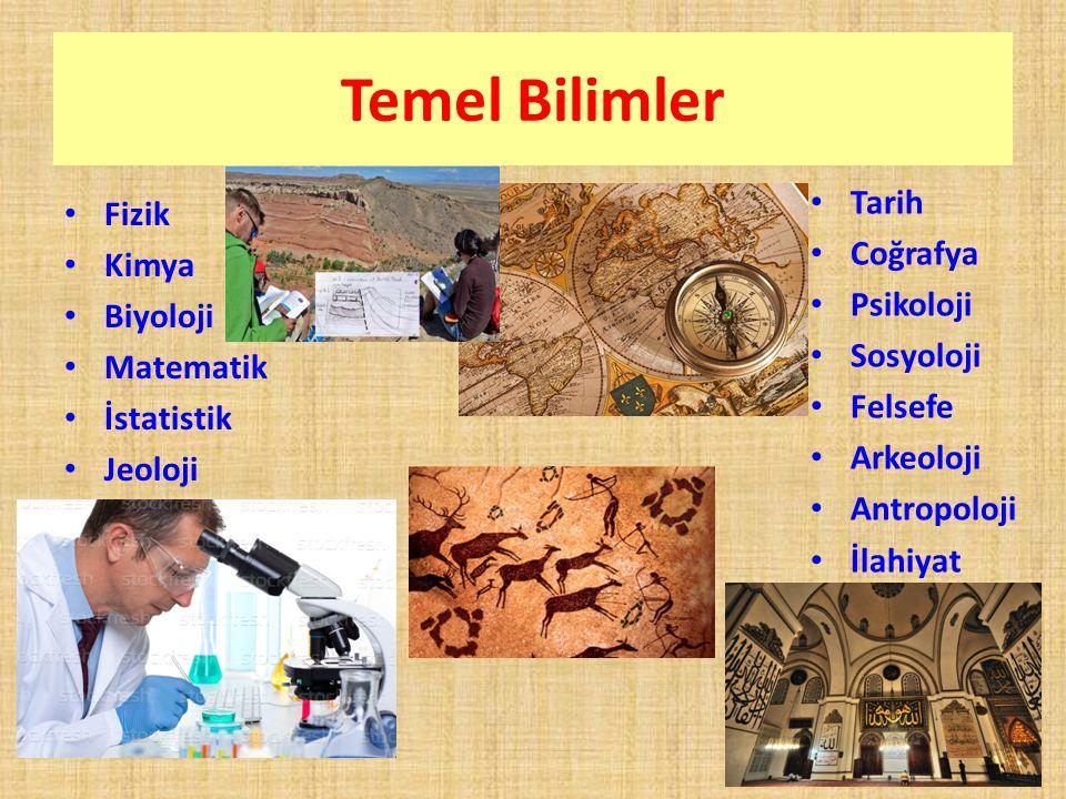 Temel Bilimler Tarih Fizik Coğrafya Kimya Psikoloji Biyoloji Sosyoloji