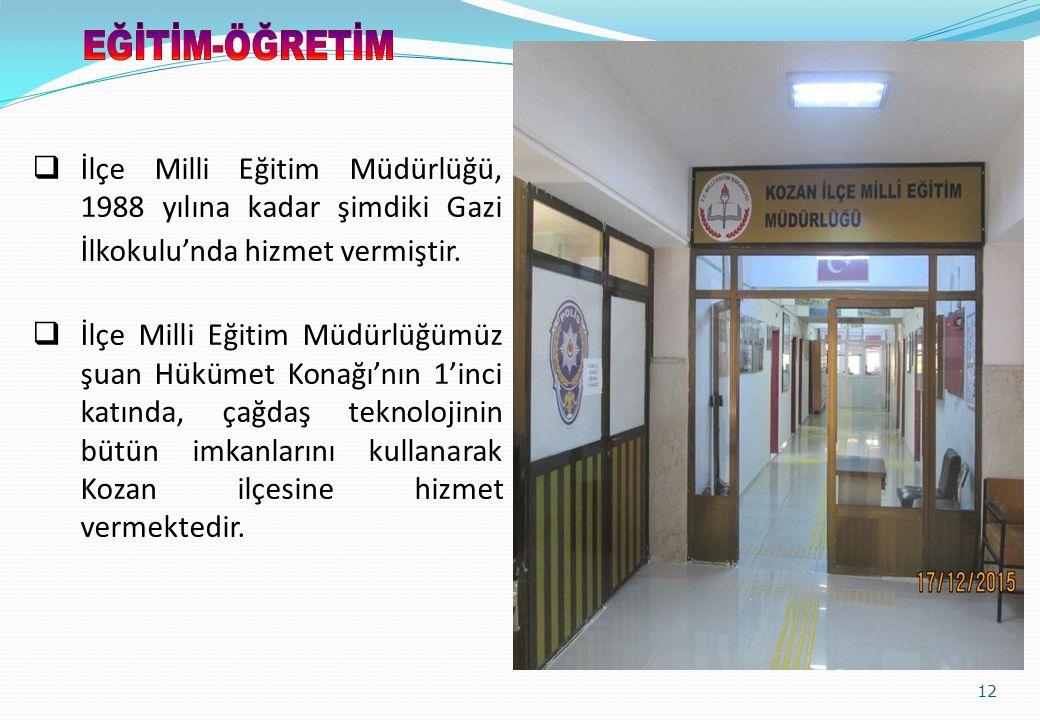 EĞİTİM-ÖĞRETİM İlçe Milli Eğitim Müdürlüğü, 1988 yılına kadar şimdiki Gazi İlkokulu'nda hizmet vermiştir.