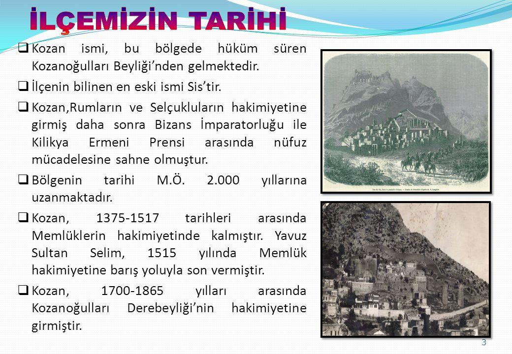 İLÇEMİZİN TARİHİ Kozan ismi, bu bölgede hüküm süren Kozanoğulları Beyliği'nden gelmektedir. İlçenin bilinen en eski ismi Sis'tir.