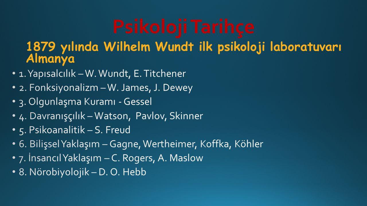 Psikoloji Tarihçe 1879 yılında Wilhelm Wundt ilk psikoloji laboratuvarı Almanya. 1. Yapısalcılık – W. Wundt, E. Titchener.
