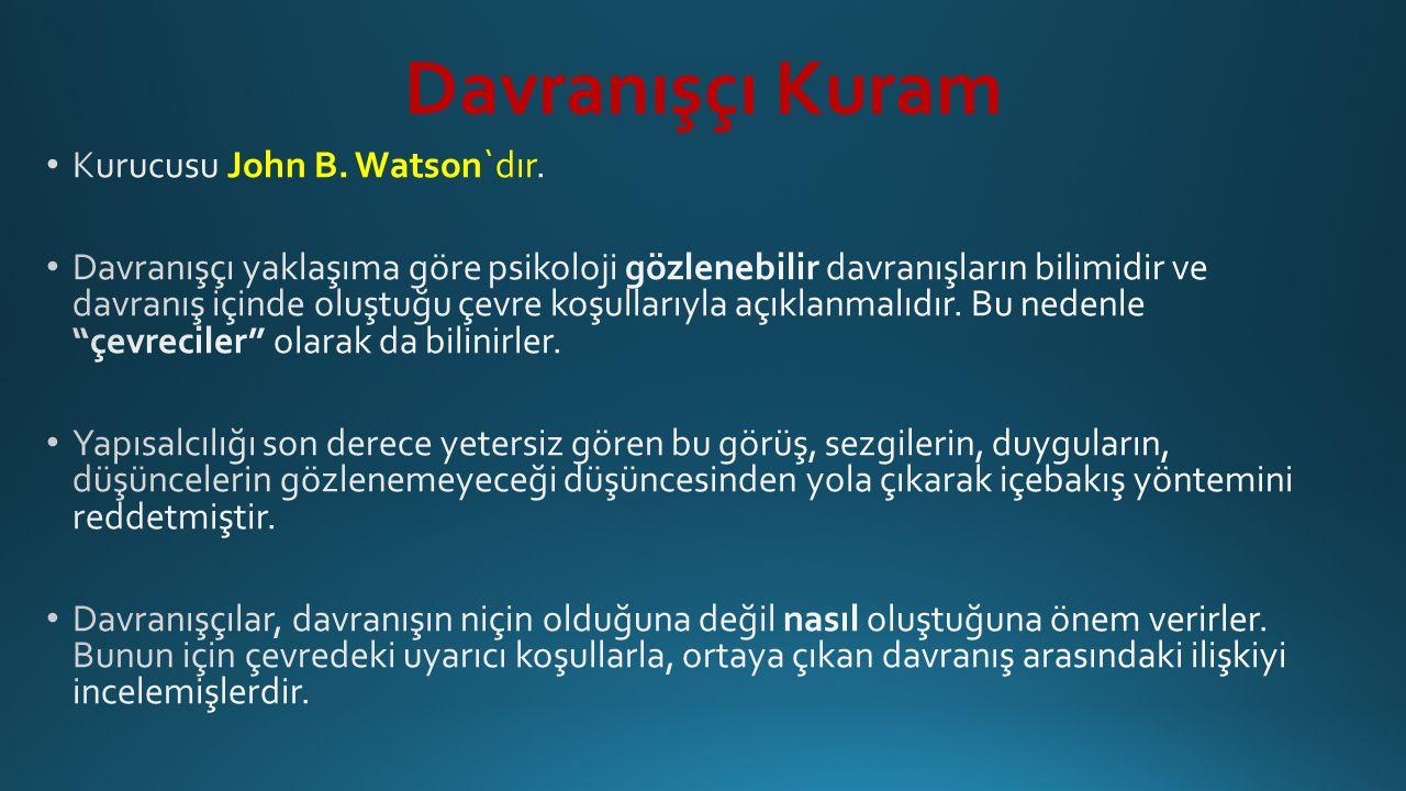 Davranışçı Kuram Kurucusu John B. Watson`dır.