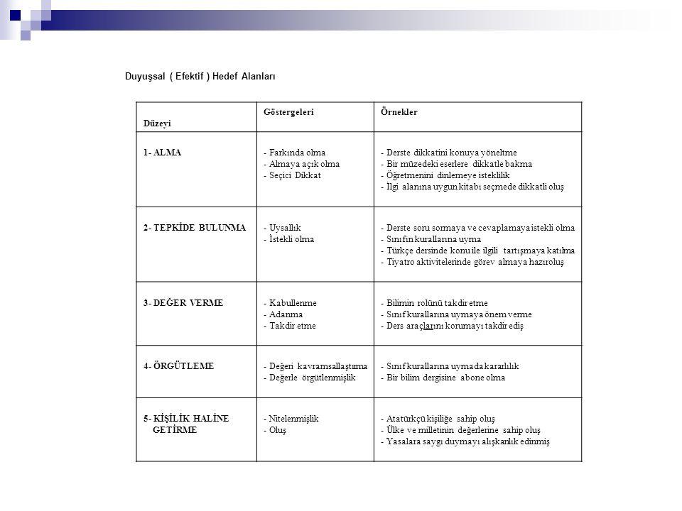 Duyuşsal ( Efektif ) Hedef Alanları