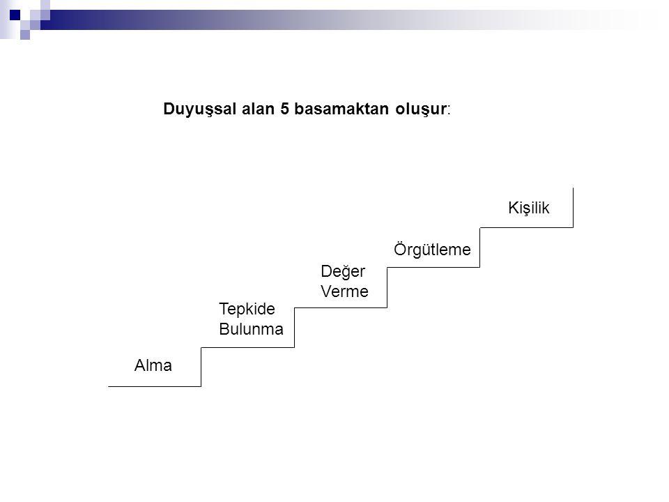 Duyuşsal alan 5 basamaktan oluşur: