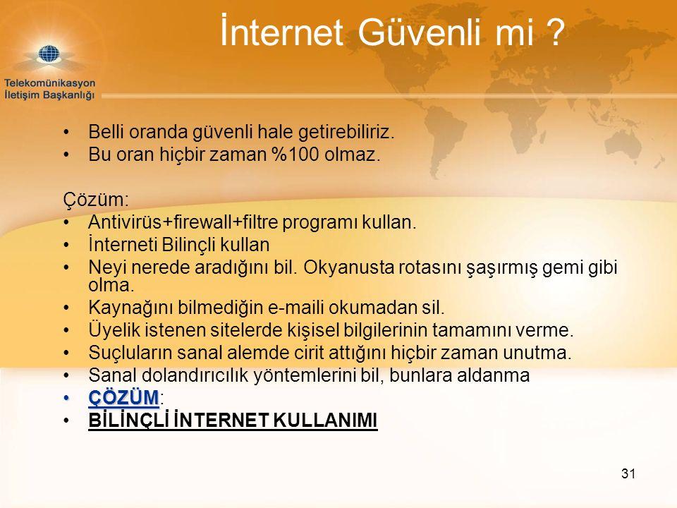 İnternet Güvenli mi Belli oranda güvenli hale getirebiliriz.