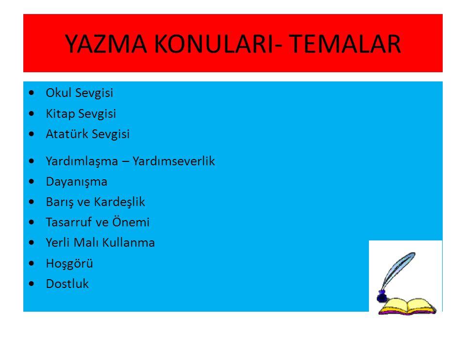 YAZMA KONULARI- TEMALAR