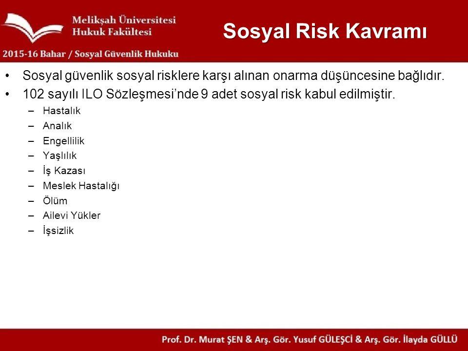 Sosyal Risk Kavramı Sosyal güvenlik sosyal risklere karşı alınan onarma düşüncesine bağlıdır.