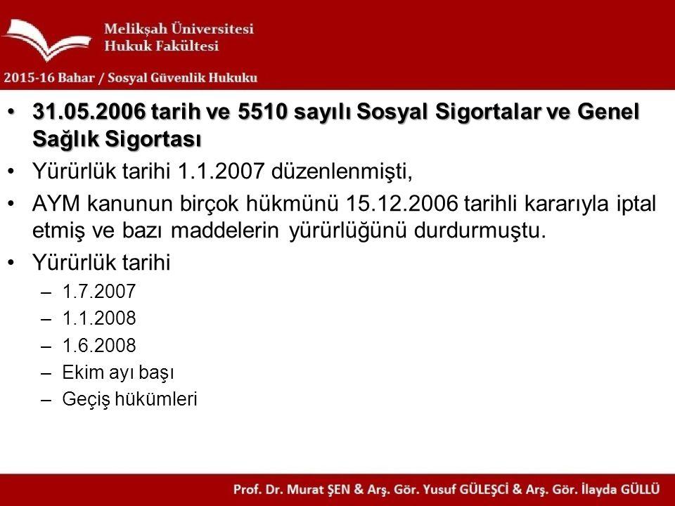 Yürürlük tarihi 1.1.2007 düzenlenmişti,
