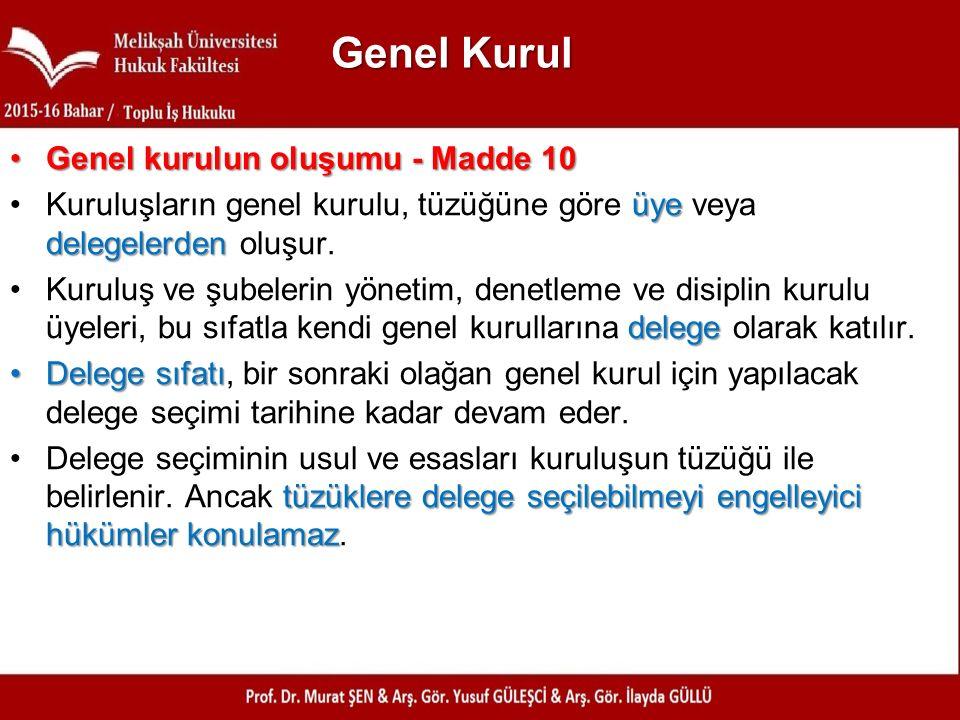 Genel Kurul Genel kurulun oluşumu - Madde 10
