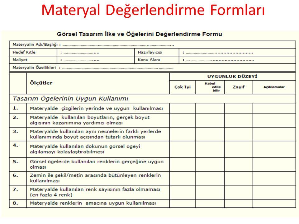 Materyal Değerlendirme Formları