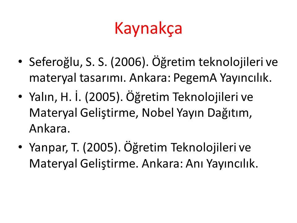 Kaynakça Seferoğlu, S. S. (2006). Öğretim teknolojileri ve materyal tasarımı. Ankara: PegemA Yayıncılık.