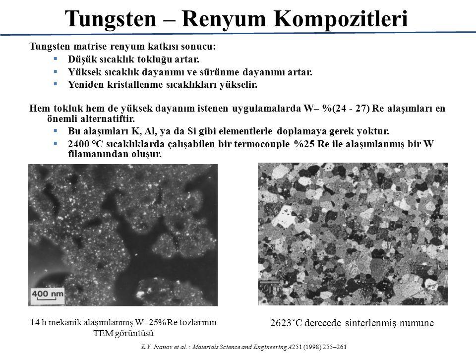 14 h mekanik alaşımlanmış W–25% Re tozlarının TEM görüntüsü