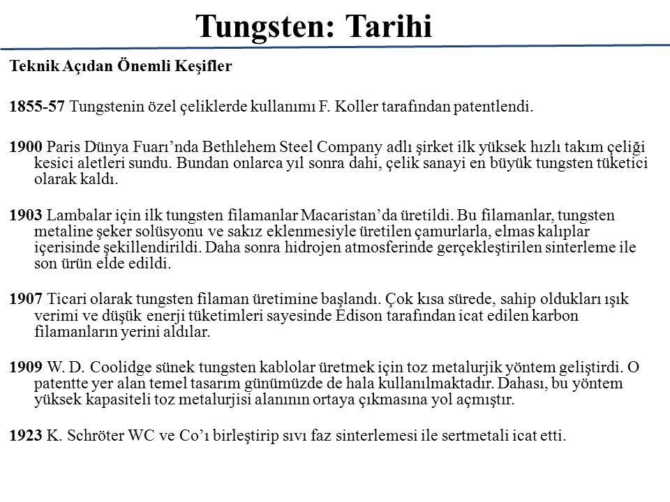 Tungsten: Tarihi Teknik Açıdan Önemli Keşifler