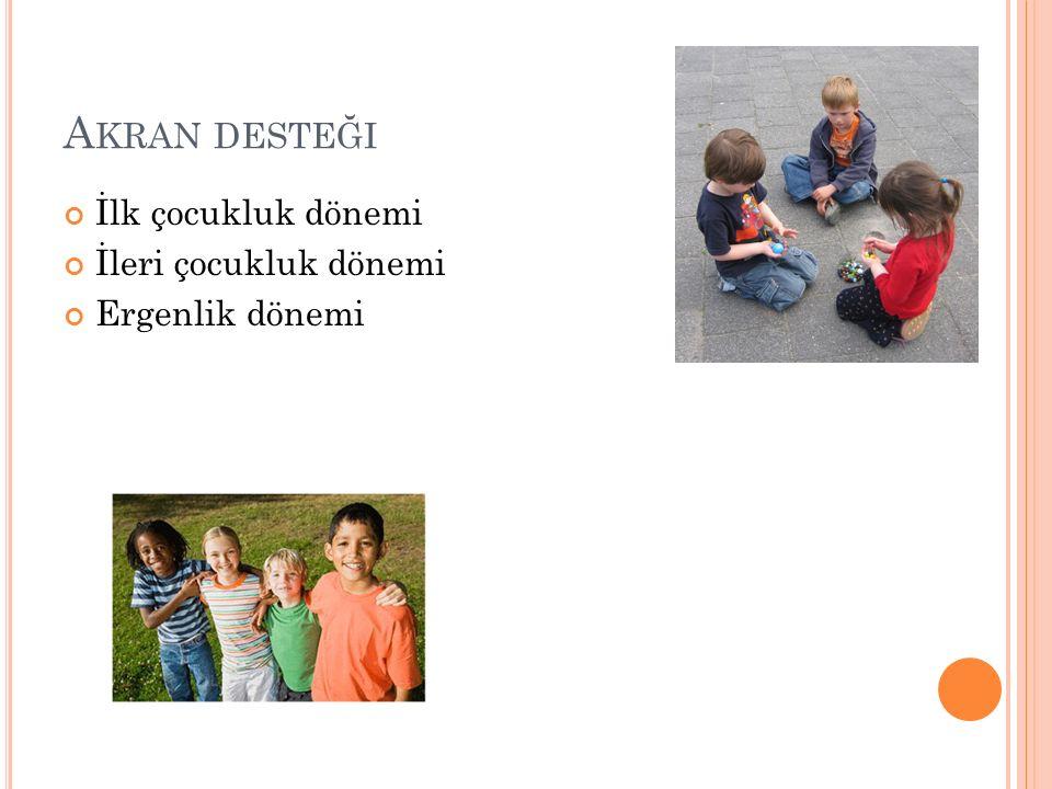 Akran desteği İlk çocukluk dönemi İleri çocukluk dönemi