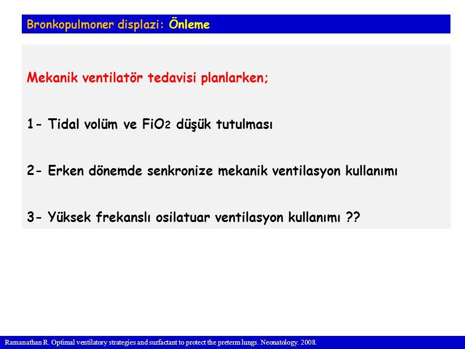 Mekanik ventilatör tedavisi planlarken;