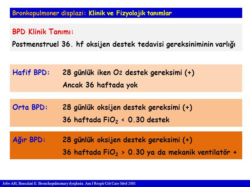 Postmenstruel 36. hf oksijen destek tedavisi gereksiniminin varlığı