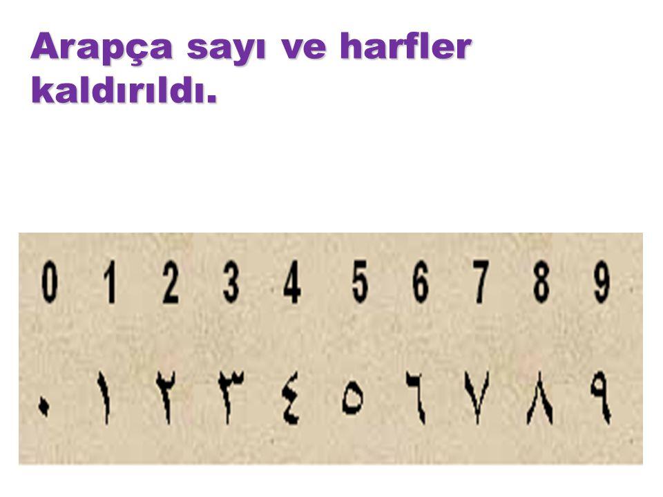Arapça sayı ve harfler kaldırıldı.
