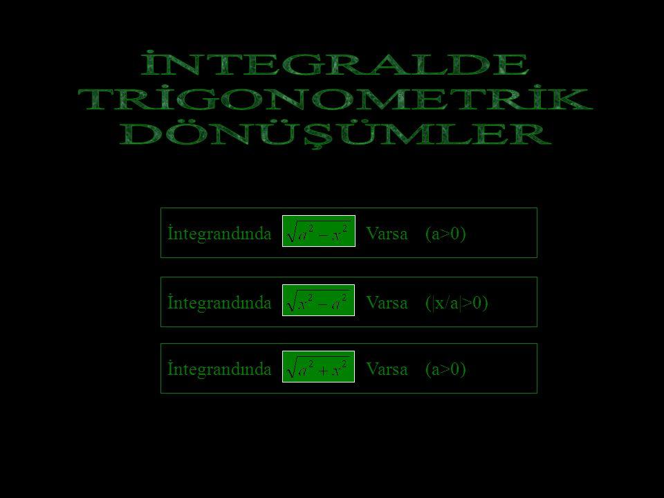 İNTEGRALDE TRİGONOMETRİK DÖNÜŞÜMLER İntegrandında Varsa (a>0)