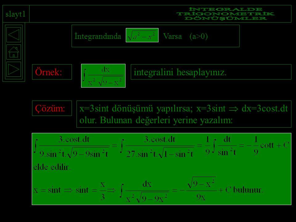 İNTEGRALDE TRİGONOMETRİK DÖNÜŞÜMLER Örnek: integralini hesaplayınız.