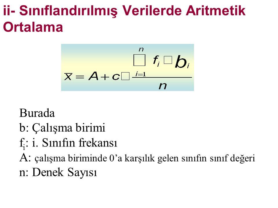ii- Sınıflandırılmış Verilerde Aritmetik Ortalama