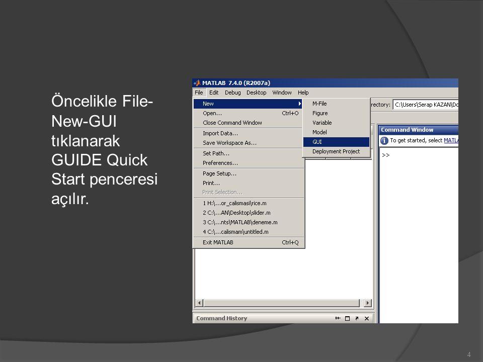 Öncelikle File-New-GUI tıklanarak GUIDE Quick Start penceresi açılır.
