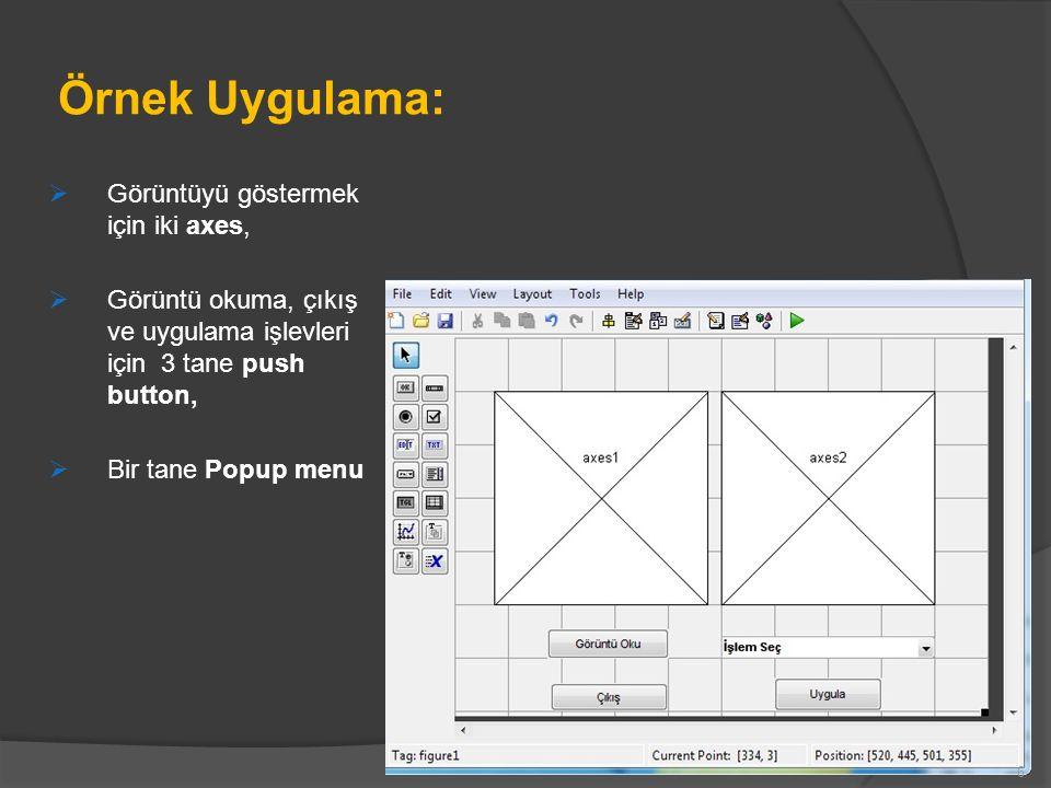 Örnek Uygulama: Görüntüyü göstermek için iki axes,