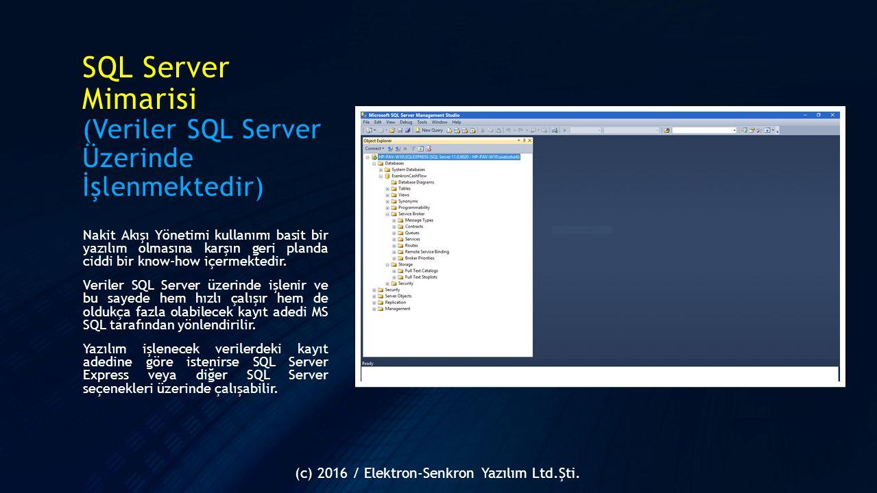 SQL Server Mimarisi (Veriler SQL Server Üzerinde İşlenmektedir)