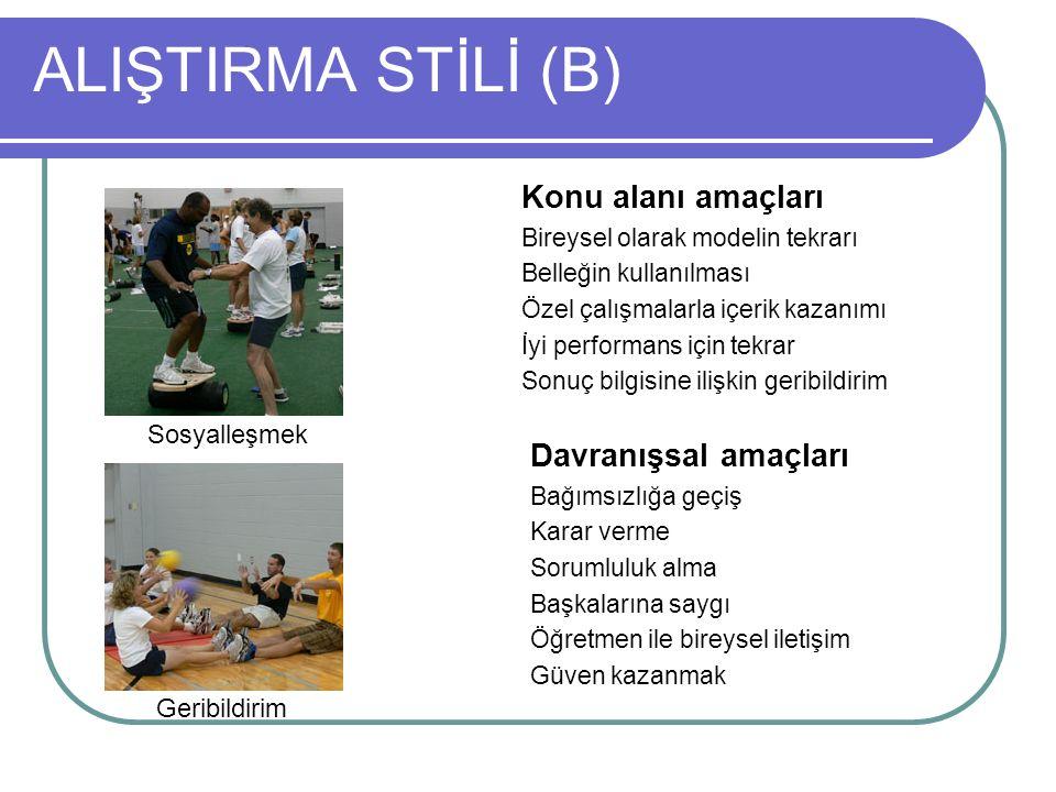 ALIŞTIRMA STİLİ (B) Konu alanı amaçları Davranışsal amaçları