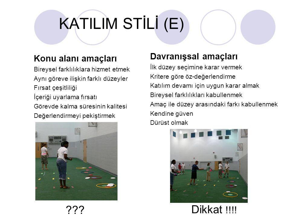 KATILIM STİLİ (E) Dikkat !!!! Davranışsal amaçları
