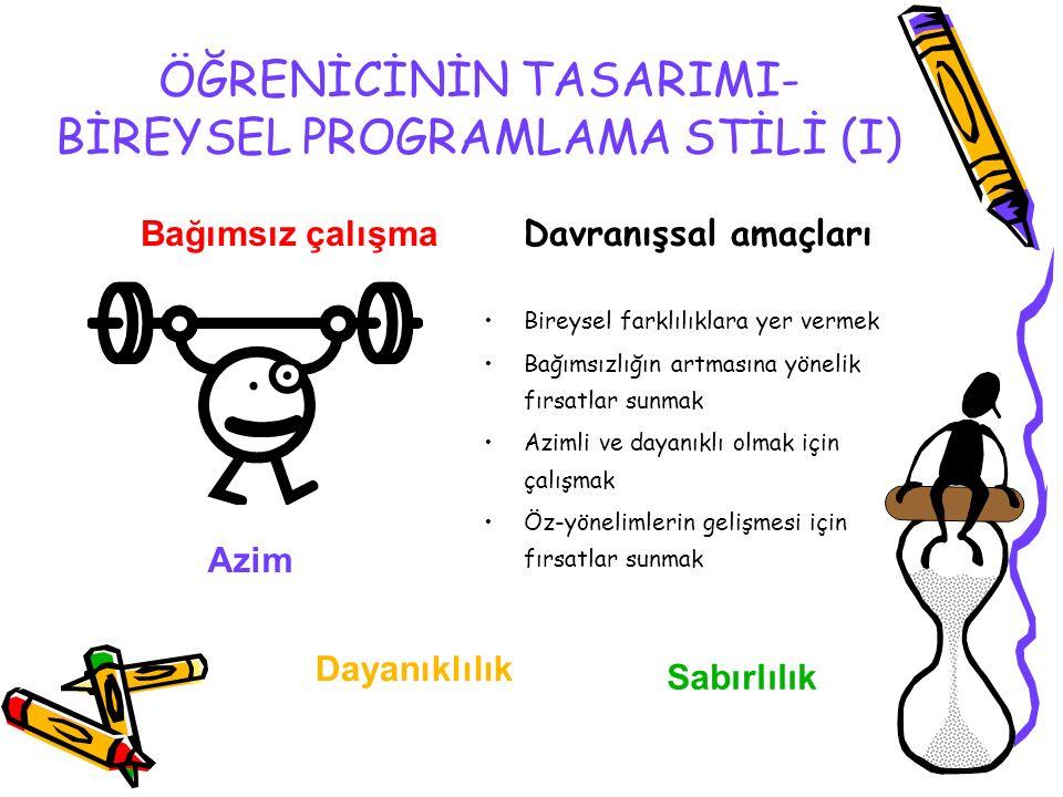 ÖĞRENİCİNİN TASARIMI- BİREYSEL PROGRAMLAMA STİLİ (I)