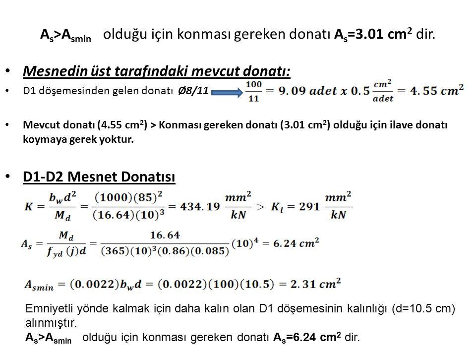 As>Asmin olduğu için konması gereken donatı As=3.01 cm2 dir.
