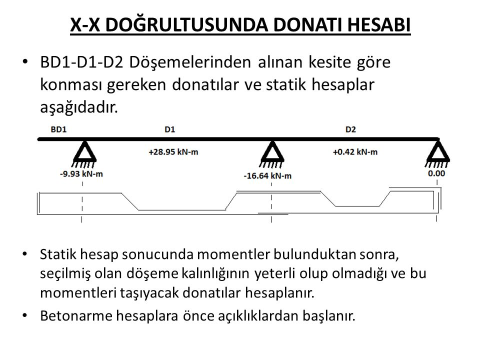 X-X DOĞRULTUSUNDA DONATI HESABI