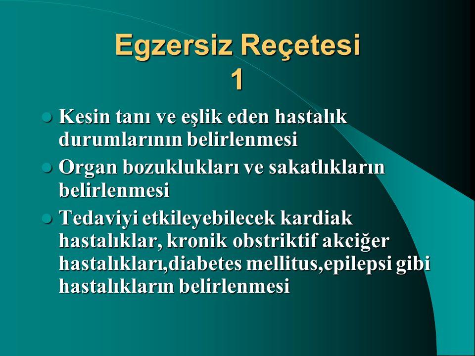 Egzersiz Reçetesi 1 Kesin tanı ve eşlik eden hastalık durumlarının belirlenmesi. Organ bozuklukları ve sakatlıkların belirlenmesi.