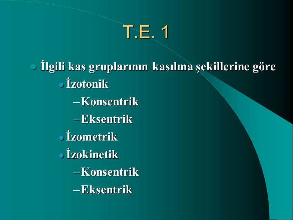 T.E. 1 İlgili kas gruplarının kasılma şekillerine göre İzotonik