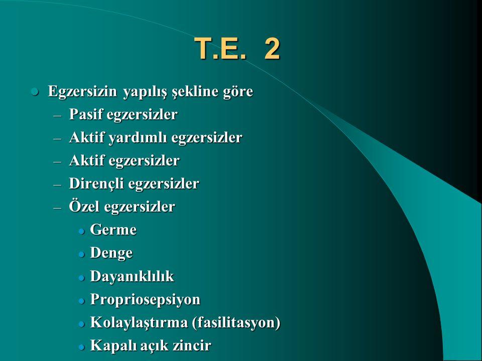 T.E. 2 Egzersizin yapılış şekline göre Pasif egzersizler
