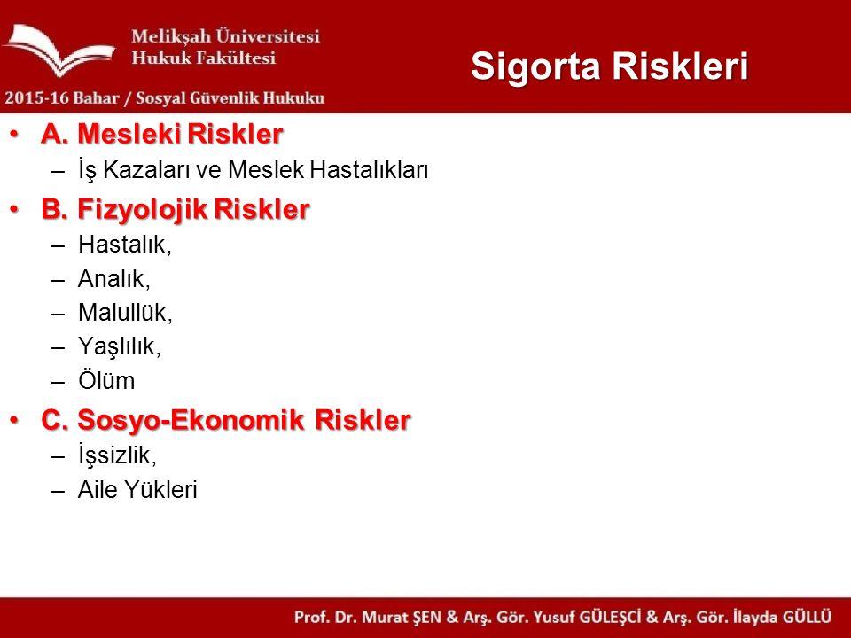 Sigorta Riskleri A. Mesleki Riskler B. Fizyolojik Riskler