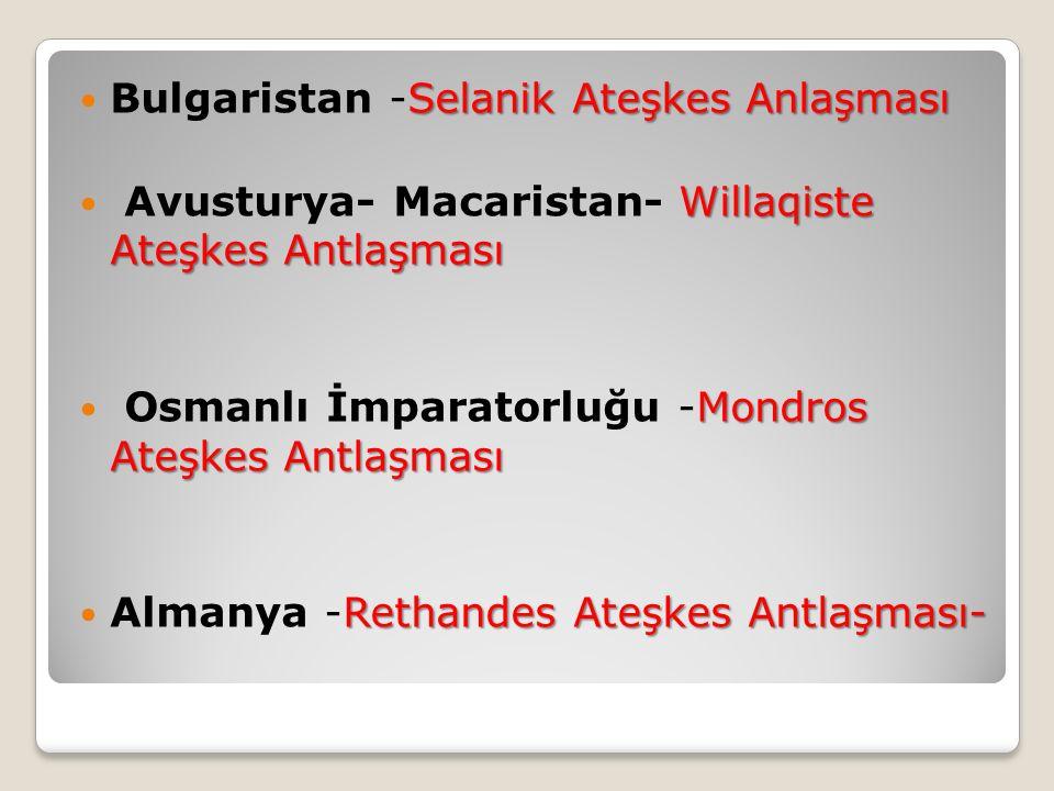Bulgaristan -Selanik Ateşkes Anlaşması