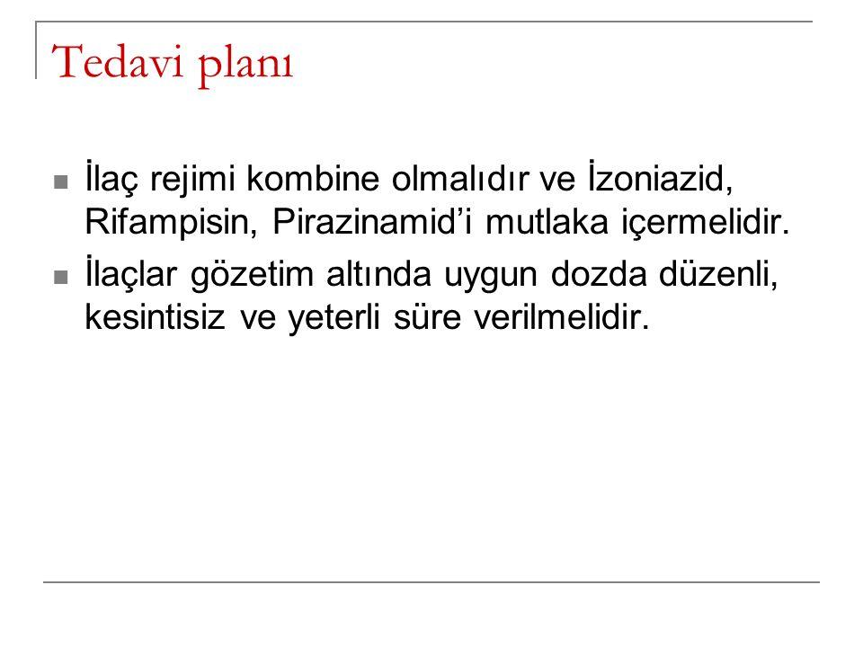 Tedavi planı İlaç rejimi kombine olmalıdır ve İzoniazid, Rifampisin, Pirazinamid'i mutlaka içermelidir.