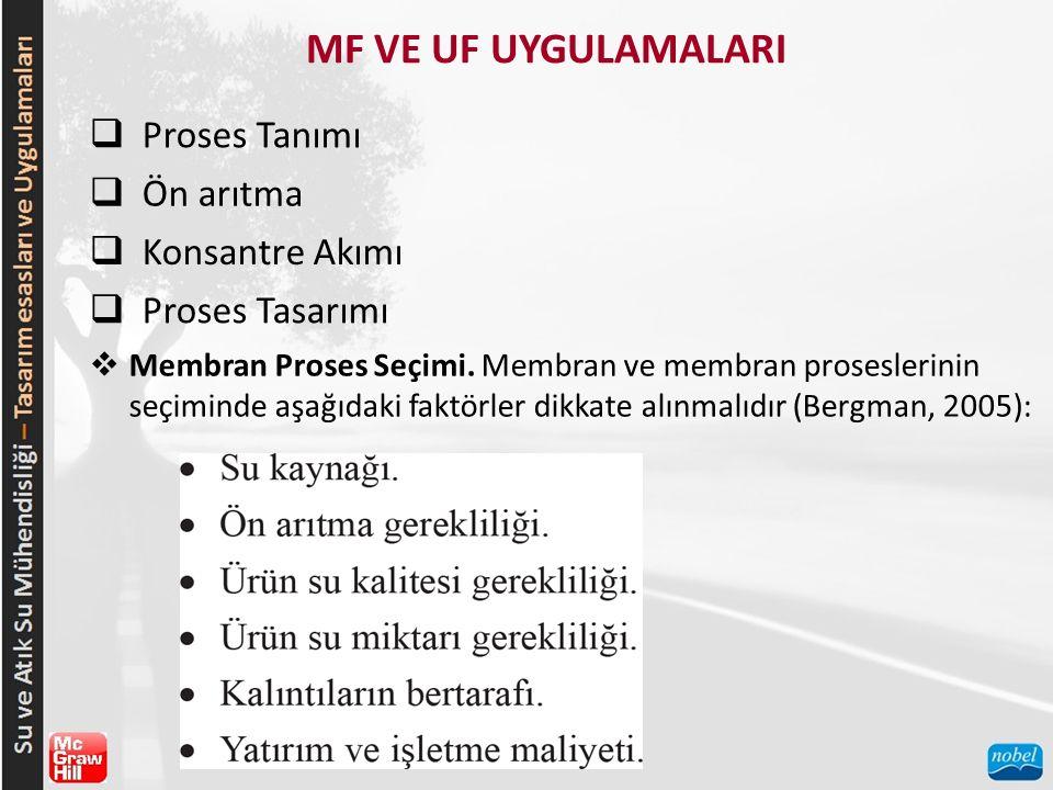 MF VE UF UYGULAMALARI Proses Tanımı Ön arıtma Konsantre Akımı