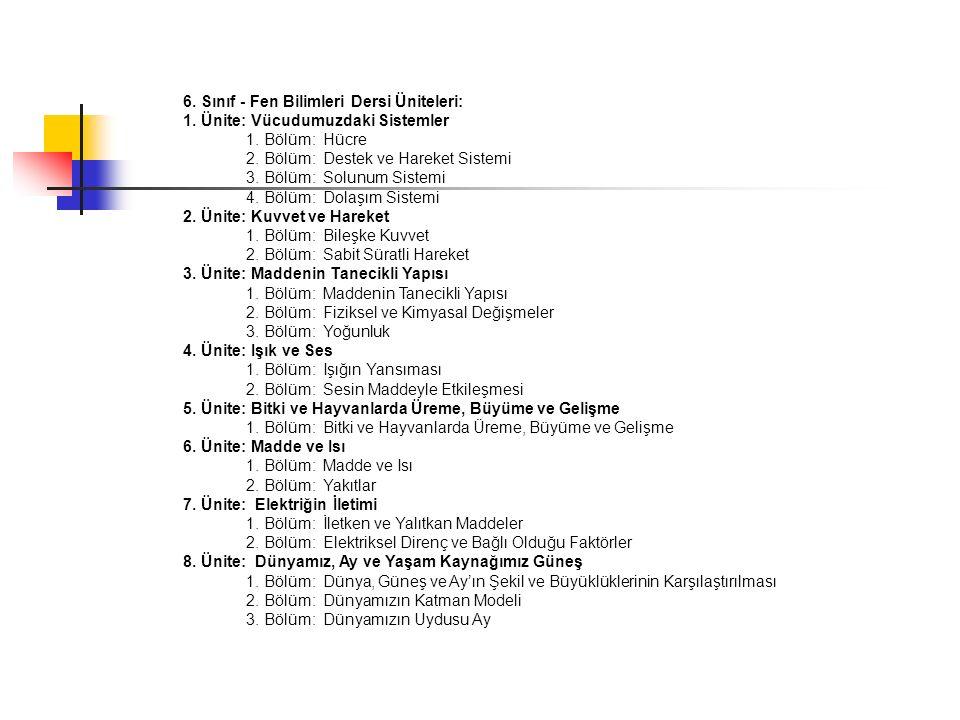 6. Sınıf - Fen Bilimleri Dersi Üniteleri: